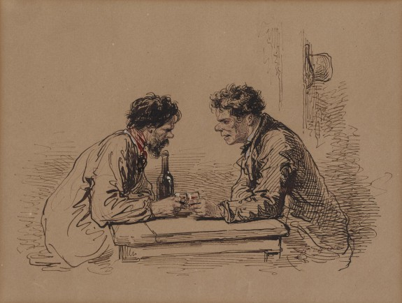 Two Men at a Table with Wine