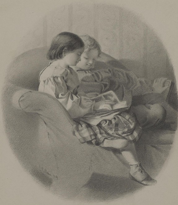 Girl and Boy Reading on a Sofa