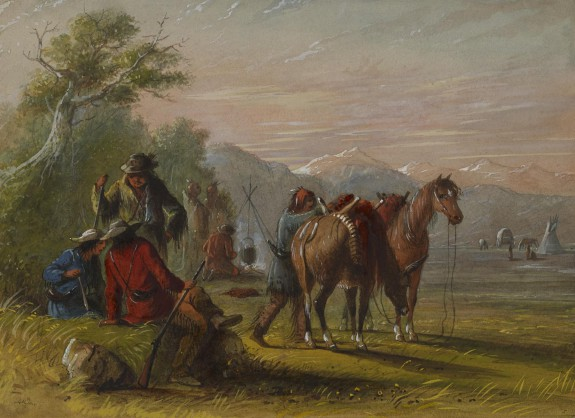 Camp Receiving a Supply of Meat