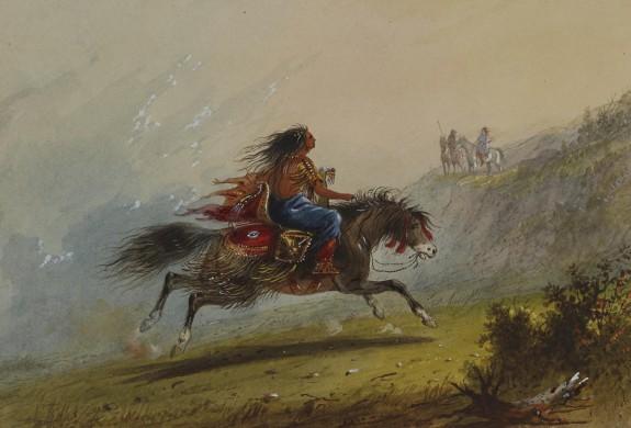 An Indian Girl (Sioux) on Horseback