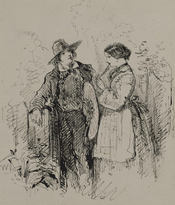 Young Man and Woman by a Gate