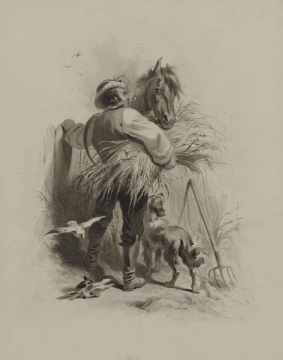 Farmer with Horse, Dog and Pigeons