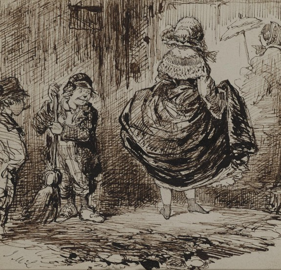 Urchins Looking at a Lady Lifting Her Skirt