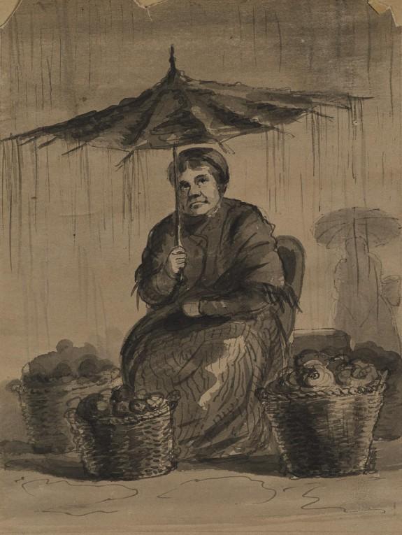 Woman Under an Umbrella in a Market