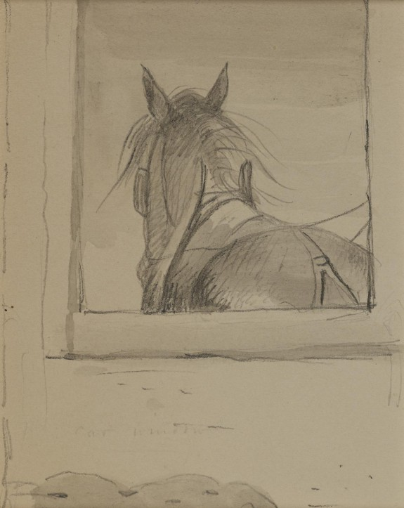 View of a Horse through a Window (Recto); Woman in Hat (Verso)