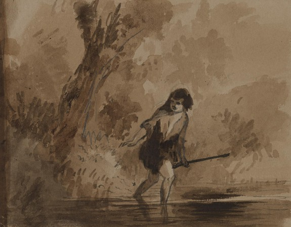 Boy Wading into Water