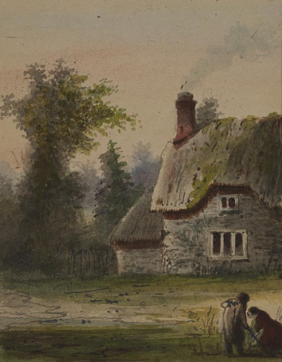 Two Figures Outside a Cottage