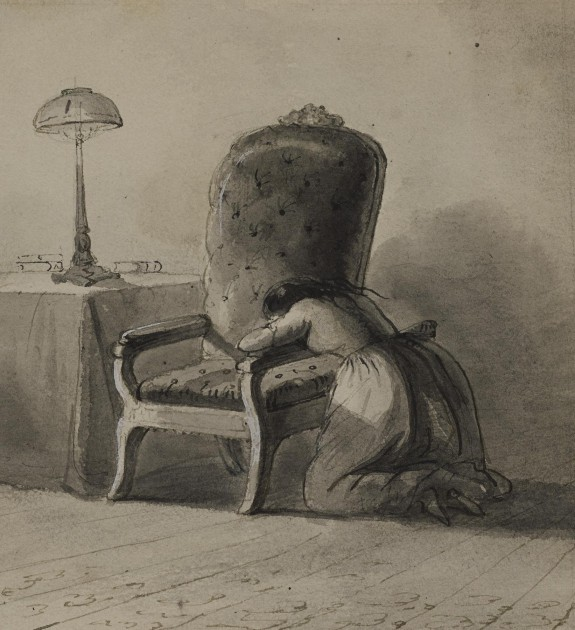 Girl Kneeling Over the Arm of a Chair