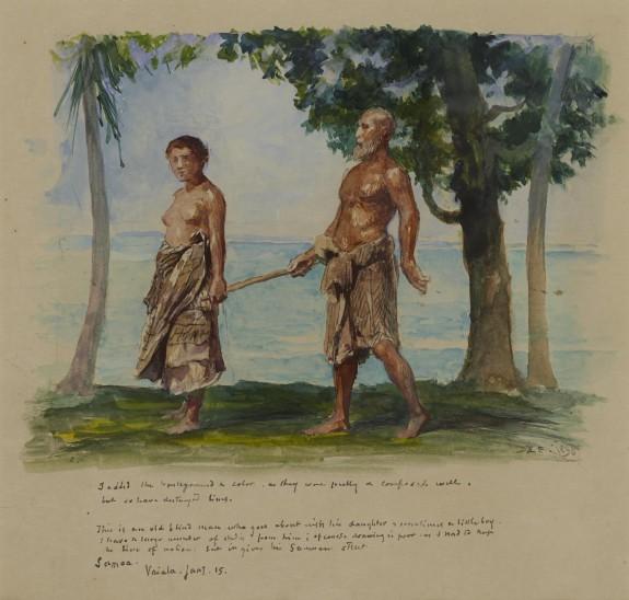 Blind Man and His Daughter, Vaiala, Samoa