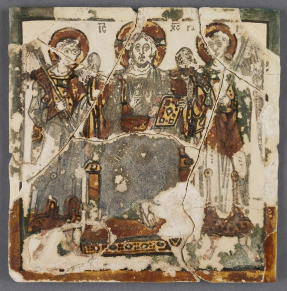 Christ Enthroned Between Two Archangels