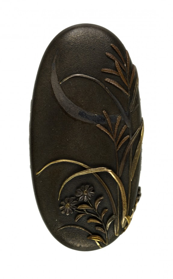 Kashira with Chrysanthemums, Pampas Grass, and Crescent Moon