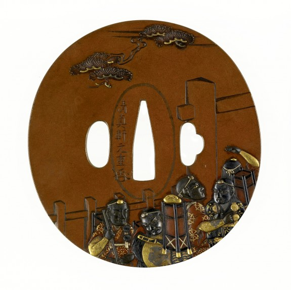 Tsuba with Benkei at the Barrier Gate, from the Play