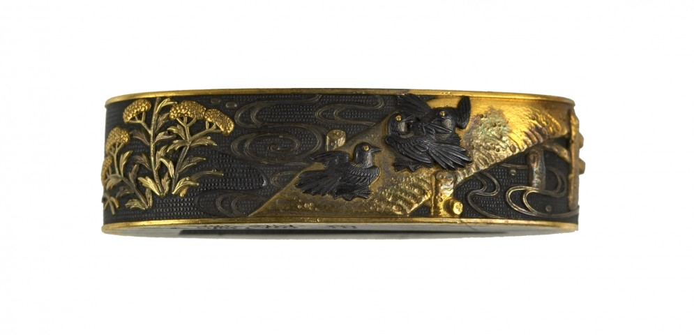 Fuchi with Magpies on a Bridge