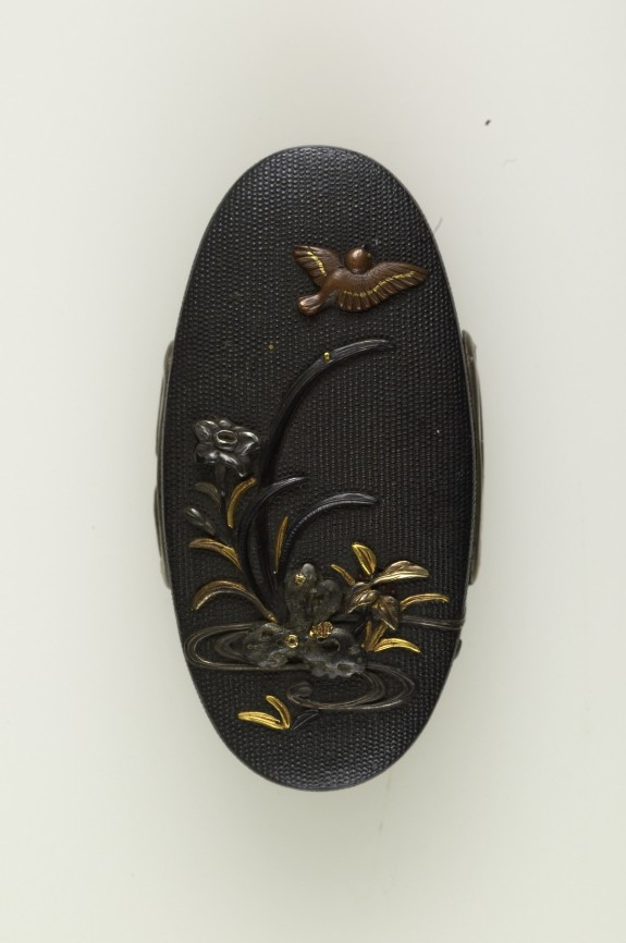 Kashira with Sparrow and Orchid
