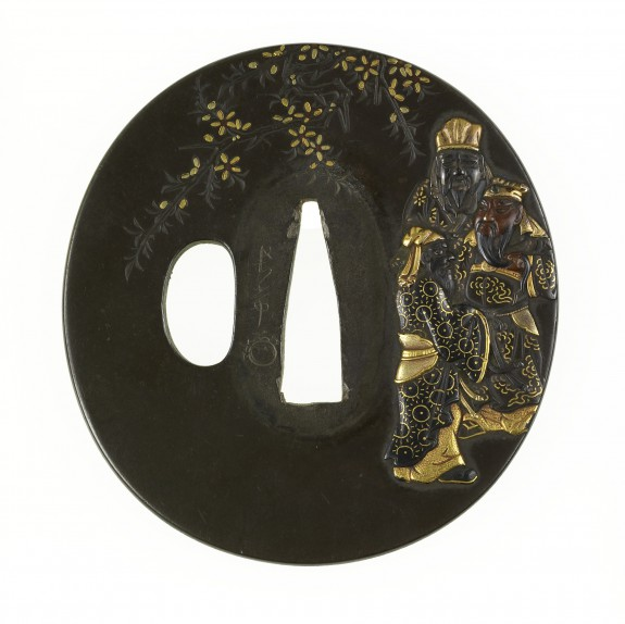 Tsuba with the Elegant Gathering in a Peach Orchard
