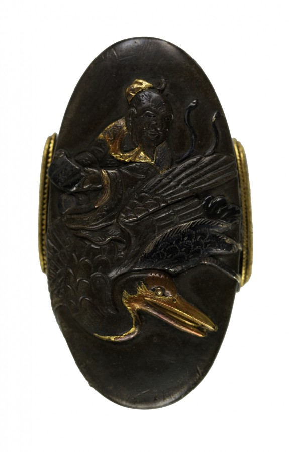 Kashira with the Chinese Immortal Jofuku Riding a Crane