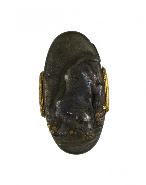 Kashira with Tiger and Stream