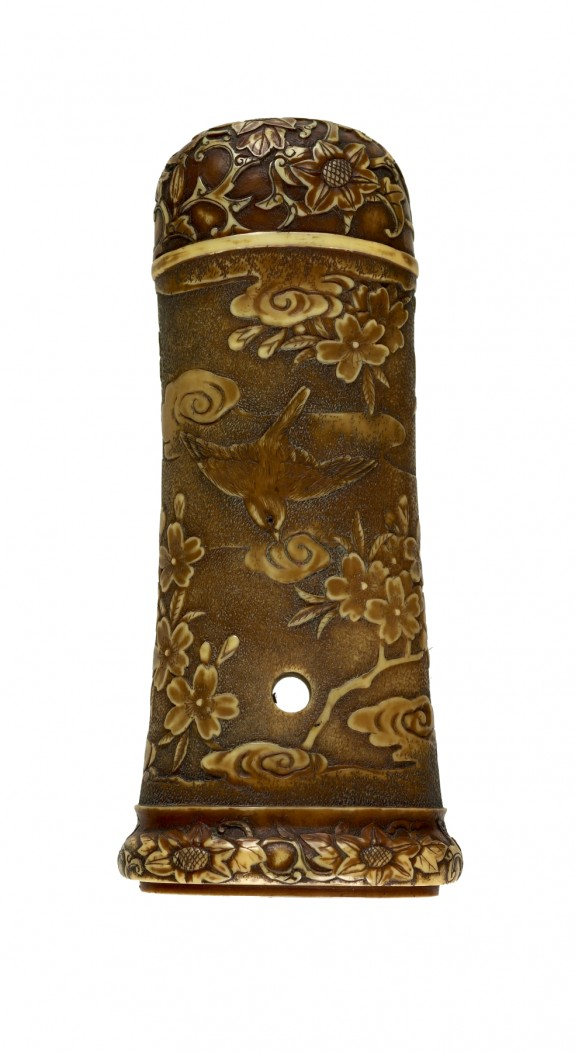 Tsuka with Sparrows and Cherry Blossoms