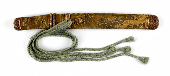 Dagger (aikuchi) carved with pheasants in floral setting (includes 51.1177.1-51.1171.3)