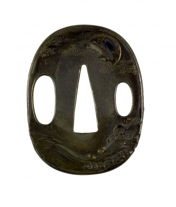 Tsuba with Moon and Waves