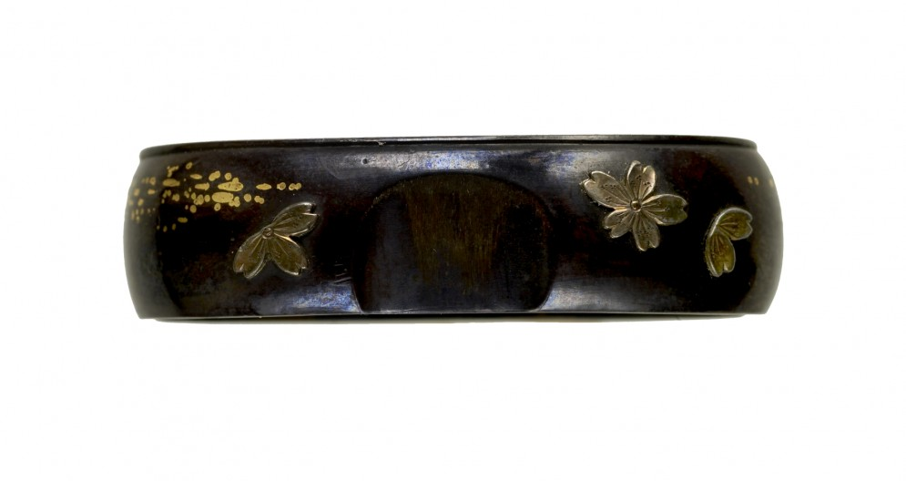 Fuchi with Cherry Blossoms and Petals