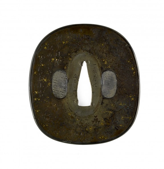 Tsuba with Snowflakes and Poem