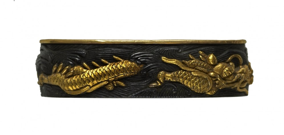 Fuchi with Dragon and Waves