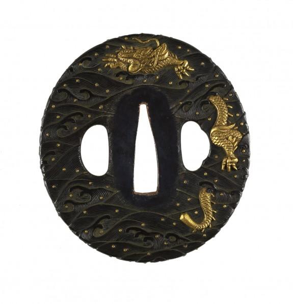 Tsuba with Dragon and Jewel