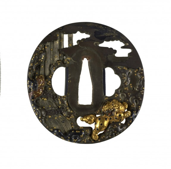 Tsuba with Chinese-style Lion and Waterfall