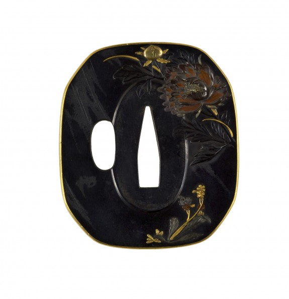 Tsuba with Peony and Butterfly