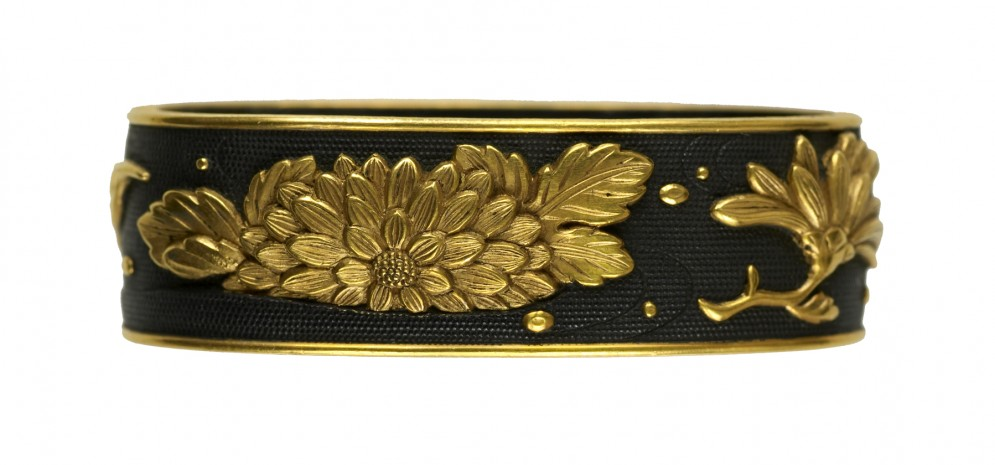 Fuchi with Floating Chrysanthemums