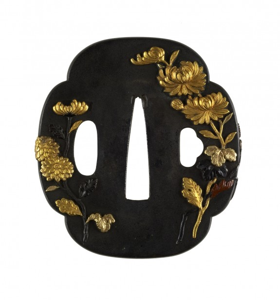 Tsuba with Chrysanthemums