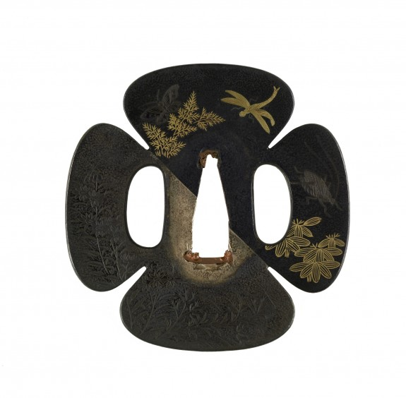 Tsuba with Autumn Flowers and Insects