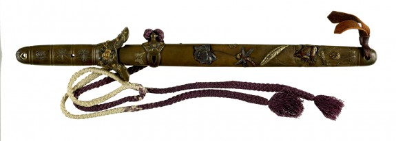 Dagger (Tanto) with Silver Saya with Lotus Pond Life, Flower Lotus Decoration
