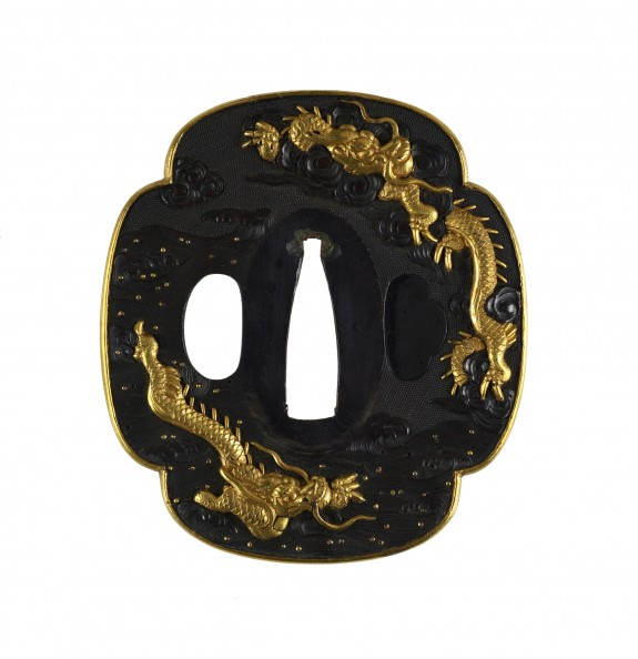 Tsuba with Dragons in Waves and Clouds.