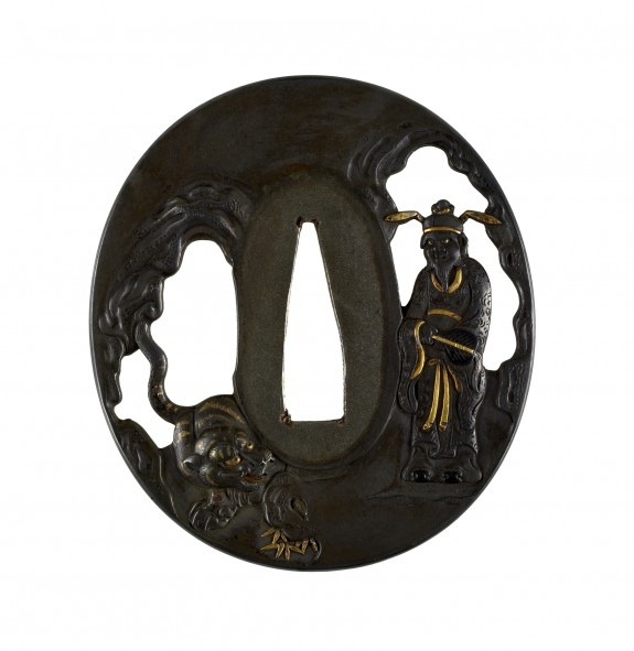 Tsuba with Chinese Immortal and a Tiger
