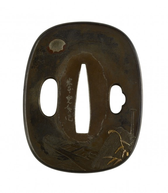 Tsuba with Boat and Moon
