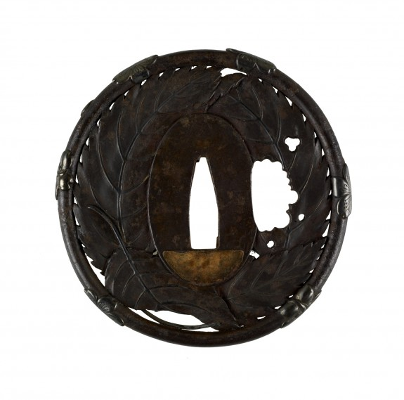 Tsuba with Leaves and Cherry Blossoms