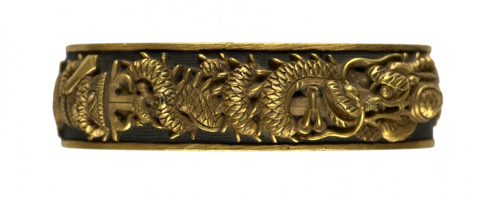 Fuchi with Sword and Dragon