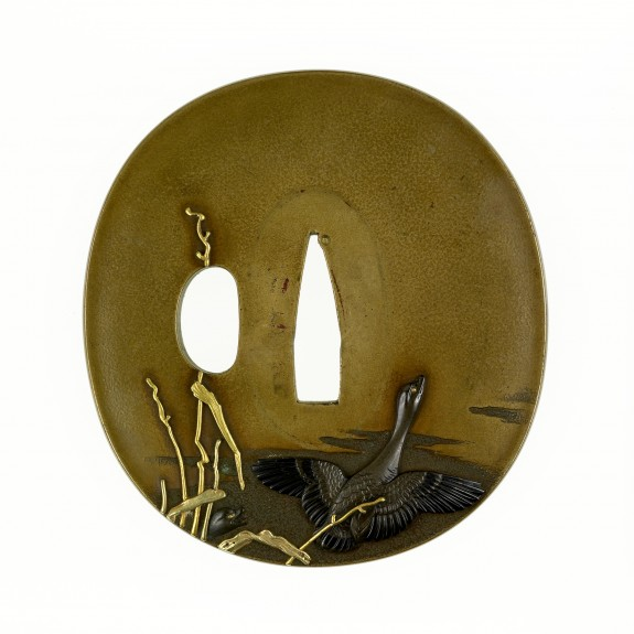 Tsuba with Geese and Reeds