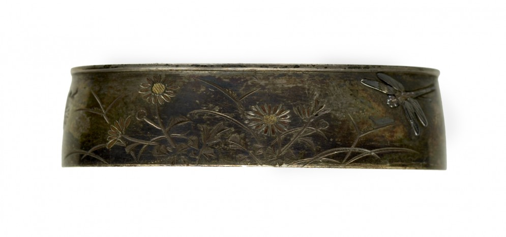 Fuchi with Chrysanthemums and Dragonflies