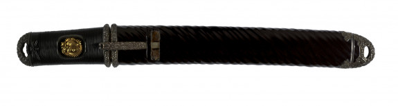 Dagger (aikuchi) with dark brown lacquer saya with diagonal cording, (includes 51.1280.1-51.1280.2)