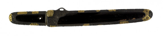 Dagger (aikuchi) with blacklacquer saya and tsuka encased in silver. (includes 51.1285.1-51.1285.2)