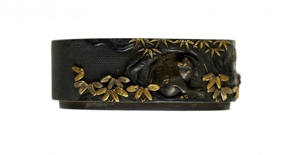 Fuchi with Monkey, Rock and Bamboo