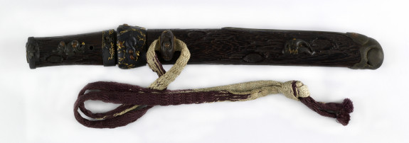 Dagger (aikuchi) with wood saya tsuka worked as a  worm-eaten branch (includes 51.1289.1-51.1289.4)