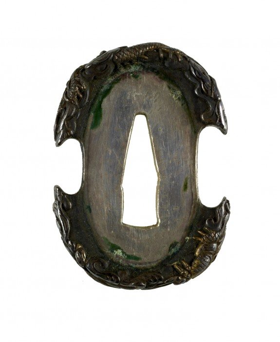 Tsuba with Dragons in Clouds