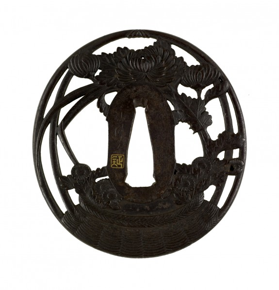 Tsuba with Peonies, Chrysanthemums and Grasses in a Woven Basket