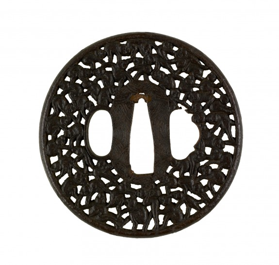 Tsuba with One Hundred Monkeys