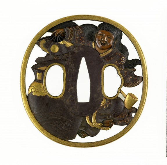 Tsuba with a Wine Jar, Ladle, and Young Woman with a Fan