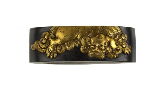 Fuchi with Chinese-style Lion and Peony